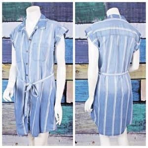 AUW Nordstrom Blue Tencel Chambray Shirt Dress 4